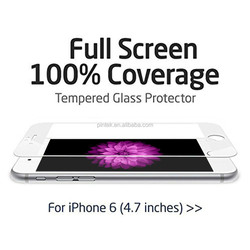 For iPhone 6 Tempered Glass Screen Protector 100% screen coverage anti-scratch, white