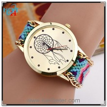 Woven ribbon watch band fashion for latest geneva knitted vogue lady watch
