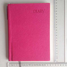 Pink hardcover embossed logo diary notebook with pen