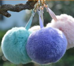 New Arrival Big soft Rabbit Fur Ball key chain Car key ring creative gift handbag pendant