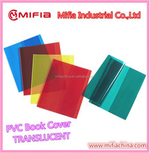 Plastic Polyvinyl PVC Translucent book cover for school children students exercise book jackets with a4 custom size
