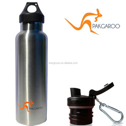 600ml stainless steel thermos/vacuum sports bottle with two lids