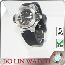 watch mens/solid 316L stainless steel/japan movement six hands/imported silicon material/5 atm/sport, luxury watch sport