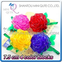 Mini Qute 3D Crystal Puzzle Rose flower building Adult kids model educational toy gift NO.MQ 011