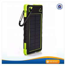 AWC088 With Carabiner Fashion Design Cell Phone High Speed Solar Polymer Battery Charger 8000mAh Portable Solar Panel Charger