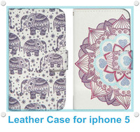 Trending Hot Products Leather Flip Wallet Case Phone Cover for iphone 5 / 5s / 4 / 4s / 6/ 6 Plus