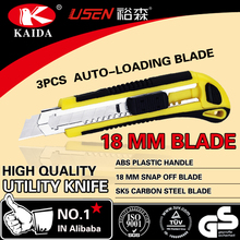 High quality hand tools office pocket utility knife auto retract utility knife with18mm cutter blade utility knife
