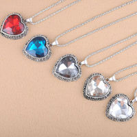 """OU3334 Sterling Silver Oxidized Marcasite and Gemstone Colored Glass Filigree Heart Pendant Necklace, 18"""""""