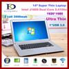 "14.1"" Laptop Computer Ultrabook, Intel Celeron J1800 Dual Core 2.41-2.58Ghz CPU, 8GB RAM,1TB HDD, 1080P, Wins 7"