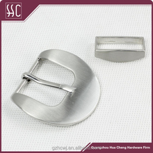 Guangzhou manufacture silver brushed men's leather belt buckles