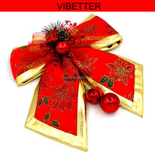 GJ-HD003 Manufacturers selling Christmas ornament wall decoration extra large printing design Christmas bowknot