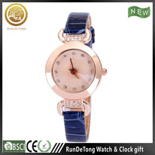 Blue diamond round case roman numberals polygon dial wrist watch no battery