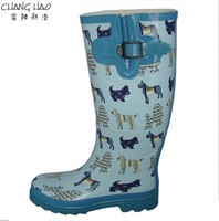Natural Rubber Rain Boot Manufacturer,Bule Ground Has Dogs Printing With Telescopic Buckle New Design Waterproof