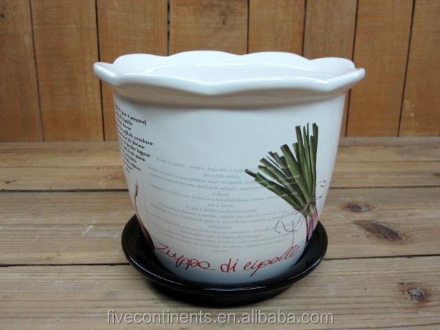 flower shape pot for sale ceramic planter pot with saucer