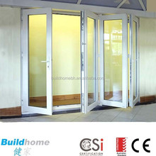 Aluminium double glazed glass folding door thermal break Australia system double handle with key