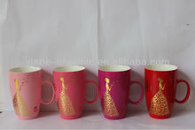 factory direct bullet shape porcelain mugs with customized deca