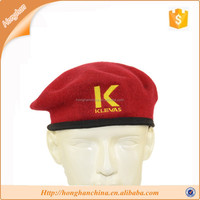 Wool red embroidery military beret