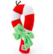 colorful Christmas festival dog pet bait toy, shoe shape dog durable bite toy, crutch shaped dog tug toys for Christmas