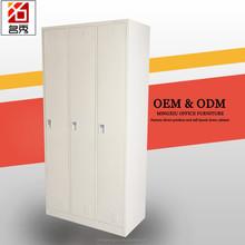 Top quality 3 door bedroom wardrobe simple design, home use steel clothes hanger wardrobe for sale