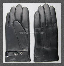Men's Wool Lined Goat Nappa Winter Daily Dress Gloves with Belts and Snpas