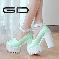 patent leather thick heel 12cm sexy high heel ankle strap women shoes