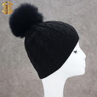 2015 Black Color Knitting Beanie Hat For Child Customized Pom Pom Hat