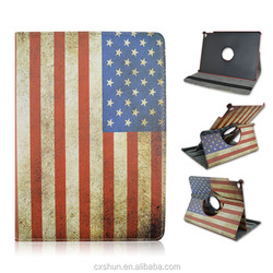 USA National Flag Pattern with Rotating Foldable Flip Cover Stand Leather Case For iPad Air 2 or iPad 6 with Elastic Belt