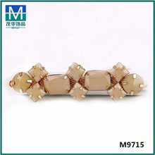 Wholesale brazilian crystal rhinestone gold chain decoration for shoe or bags . M9715