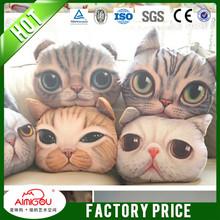 eco memory foam filling cat face pillow,dog face pillow 3d