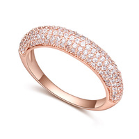Women Brand Finger Ring Jewelry Cubic Zirconia Ring 18K Rose Gold Plated CZ Diamond Fashion Wedding Engagement Ring
