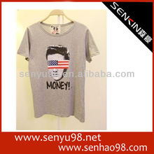 popular design 100%cotton soft and thin t shirts for women