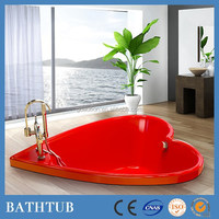 2015 New design Modern recessed 150cm red built in acrylic heart shaped bathtub