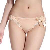 sexy skin color underwear for girls, cotton hot sell sweet bowknot girls panties