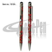 2 in 1 Capacitive Touch Screen Pen Novelty Design Embossed Ball Pen pocket Size Rotating Pens for Laptop Accessories