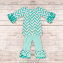 Latest Clothes Designs Aqua Chevron Long Sleeve Toddler Girl Clothing Kids Clothes set