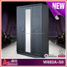 W883-50 three doors wardrobe with mirror /hot sale tall wooden wardrobe design/bedroom wooden furniture