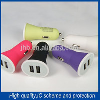 Colorful Newest 5V 2.1A USB Car Charger Dual Ports Mini USB Charger Wholesale