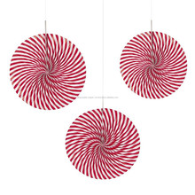 YiWu PartySupplier Hanging Ceiling PAPER Party Decoration RED & WHITE Peppermint Candy HANGING FANS Wedding Decoration Holiday