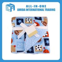 Wholesale blue ball pattern double thickening baby blanket
