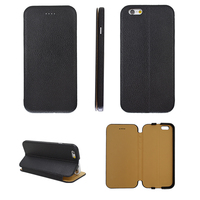 France Market Genuine Leather Mirofiber Black Business men Cheap Cell Phone Accessories for iPhone 6