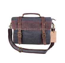 Vintage Canvas Leather Messenger Traveling Briefcase Wholesale Laptop Bag, China Bag Factory