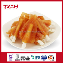 Pet food type soft chicken inserted with 8cm bleached rawhide stick