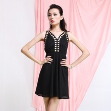 wholesale summer back out sexy chiffon dress for woman