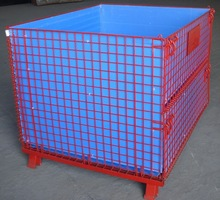 Steel Folding Wire Mesh Containers Stackable Storage Cage