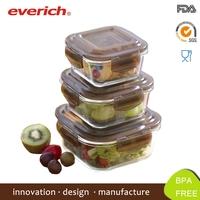 Wholesale Microwave Safe Borosilicate Square Glass Lunch Box