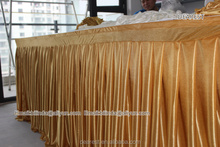 100%polyester gold ICE SILK table skirt for wedding