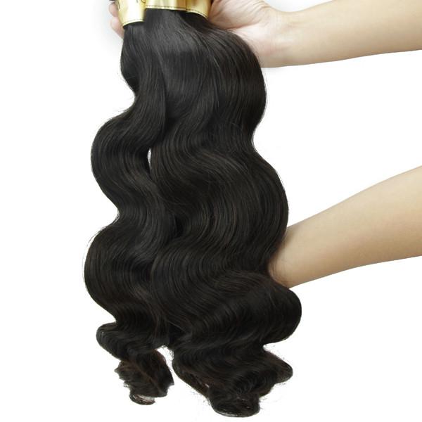 JP usine prix brésiliens cheveux, 20 pouce vierge vague de corps cheveux humains trame