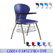 plastic chair with metal legs student training chair with writing board