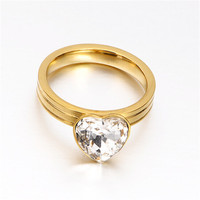 Yiwu Aceon stainless steel Heart Shaped Stone Sandblast pair engagement ring