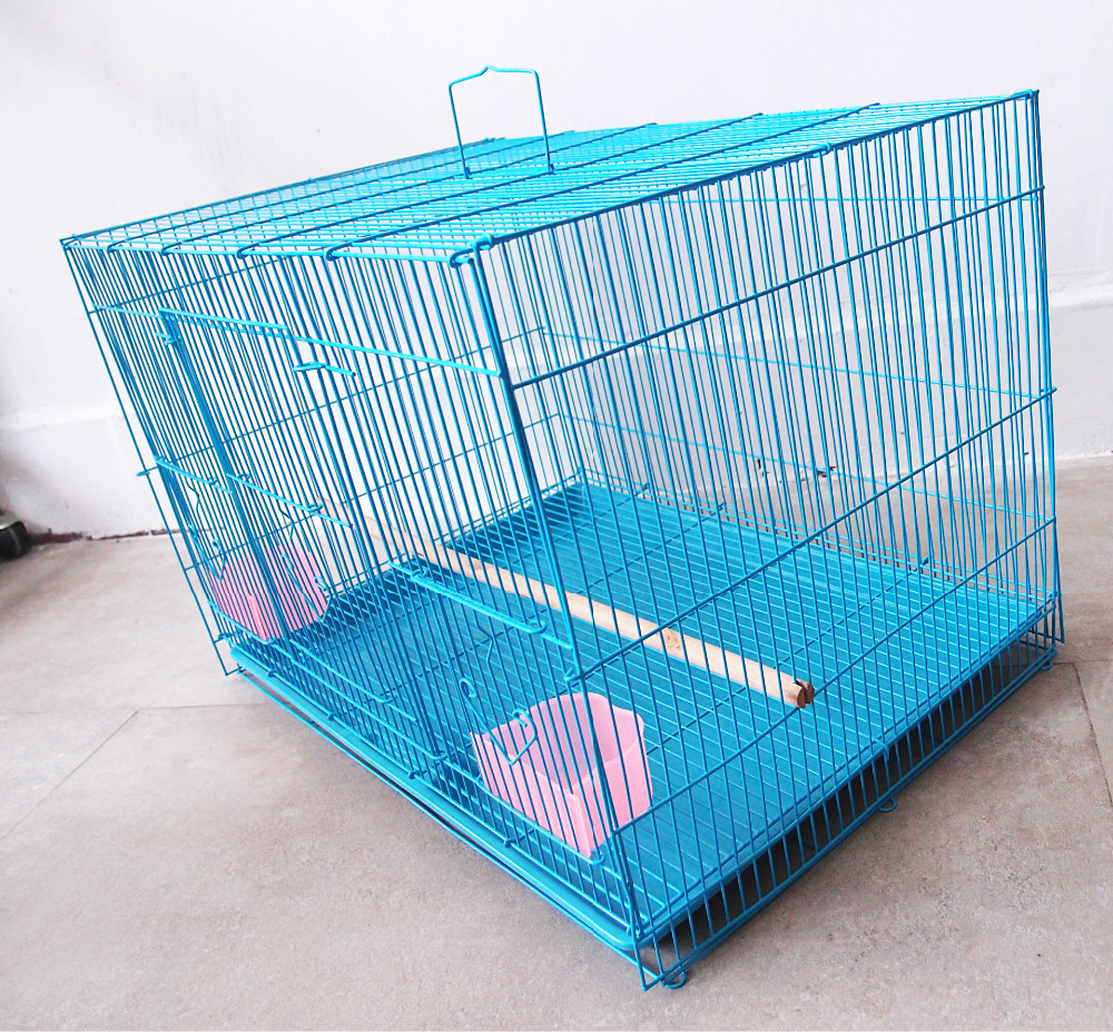 Square Blue Painting Large Pet Cage Wire Mesh Folding Parrot Bird ...